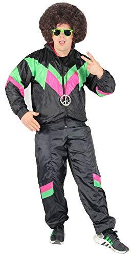 Bad Taste 80er Jahre Kostüm Trainingsanzug für Herren Jogginganzug - schwarz grün pink - Größe S-XXXXL, Größe:XXXL