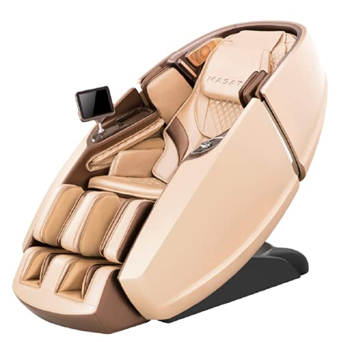 DIVINA EXTRA PREMIUM DELUXE 4D Poltrona Massaggiante Super Professionale Zero Gravity SL per colonna vertebrale Massaggiatori Piedi Bluetooth Doppio Rullo 12 Programmi Massaggio Automatici (Oro)