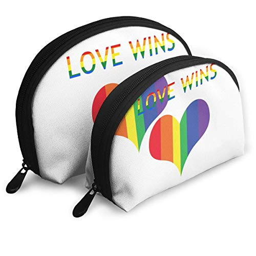 XCNGG Storage bag Colorful Rainbow Love Wins Heart Portable Travel Makeup Handbag Waterproof Toiletry Organizer Storage Bags
