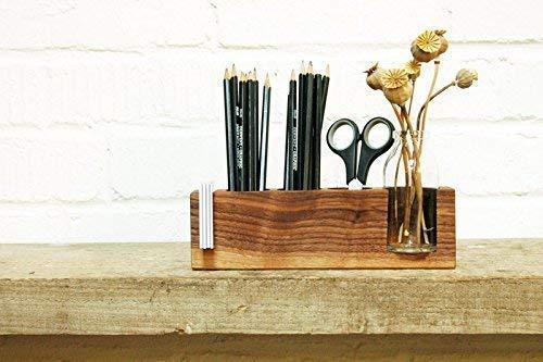 Stifthalter mit Vase und Zettelhalter, Aufbewahrung Stifte, Schreibtisch, Organisation Stifte