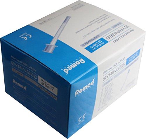 Insulinspritzen U 50 einzeln steril verpackt , Menge der Einmalspritzen nach Auswahl von Romed Medical (500 Stück U 50)