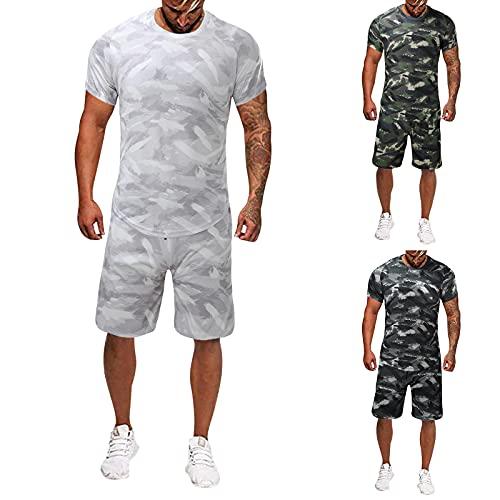 BIKETAFUWY Conjunto de 2 piezas de verano para hombre, de camuflaje, ajustado, para entrenamiento, jogging, chándal, pantalones de chándal de dos piezas, pantalones con bolsillos, ropa deportiva A01 M