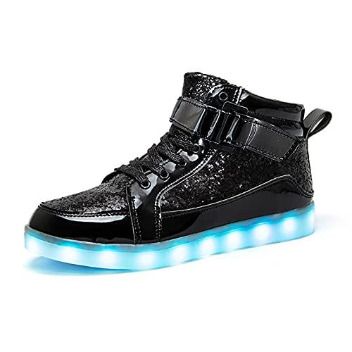 IGxx LED-Schuhe, Licht für Herren, High-Top, LED-Sneaker, USB-Aufladung, Schuhe, Damen, leuchtend, blinkend, für Kinder, Klettverschluss, 41.5 EU