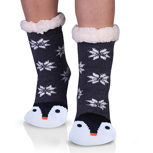 Penguins Cozy Fuzzy Slipper Socks with Grippers for Women Cute Animal