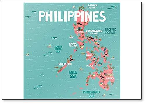 Imán para nevera con mapa ilustrado de Filipinas con ciudades y puntos de referencia