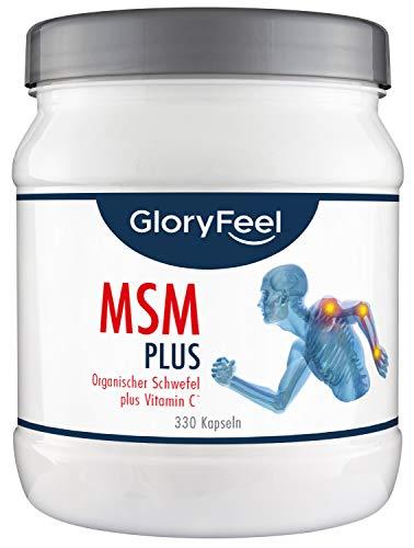 GloryFeel® MSM Kapseln Intensiv 1.600 mg - 330 Hochdosierte Kapseln Reiner Organischer Schwefel + Vitamin C und Selen - 330 Stück - Nahrungsergänzung von GloryFeel