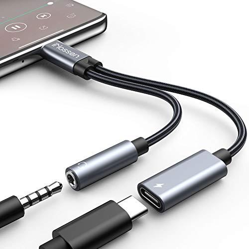 [Dernière Version 2021] Adaptateur 4 en 1 USB C pour Casque avec Prise de Charge Rapide Type C vers Prise Jack 3,5 mm pour Samsung S20 S10 S9 Note10 20 5G Huawei Mate 20 30 Pro P30/P40, ipad Pixel