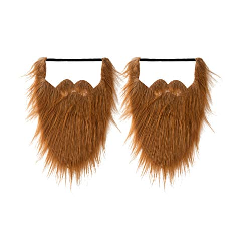 HEALLILY 2 Unids Largas Barbas Falsas Halloween Divertido Bigote Falso Disfraz de Pelo Facial Disfraz para Halloween Suministros para Fiestas de Navidad