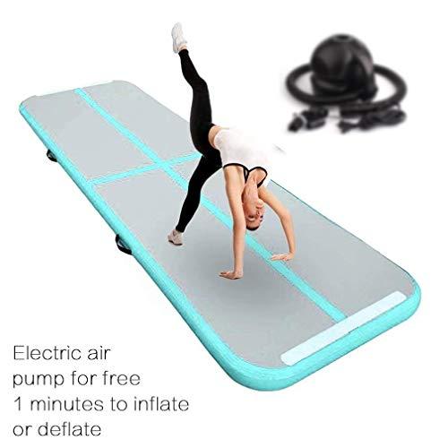 FBSPORT 20cm hoch 1M Aufblasbar Gymnastik Tumbling Matte Air Track,Trainingsmatte mit Luftpumpe,Gymnastikmatte mit Tragetasche
