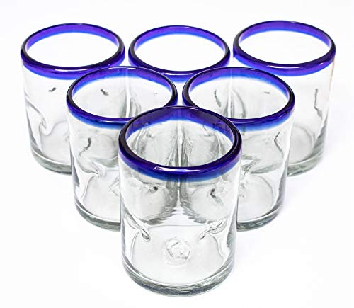 Blue Rim Mexican Kitchen Thick Durable Recycled Clear Hand Blown Drinking Glasses Cups Stemless Juice Margarita Wine Cobalt Picado Glassware 10 oz. Dishwasher Safe Set of 6