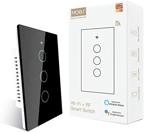 MOES Nuevo Interruptor WiFi Inteligente de Luz de Pared Táctil con Panel de Vidrio Control Remoto Inalámbrico por APP Funciona con Amazon Alexa, Función de Temporización sin Necesidad de Hub (3 gang, negro)
