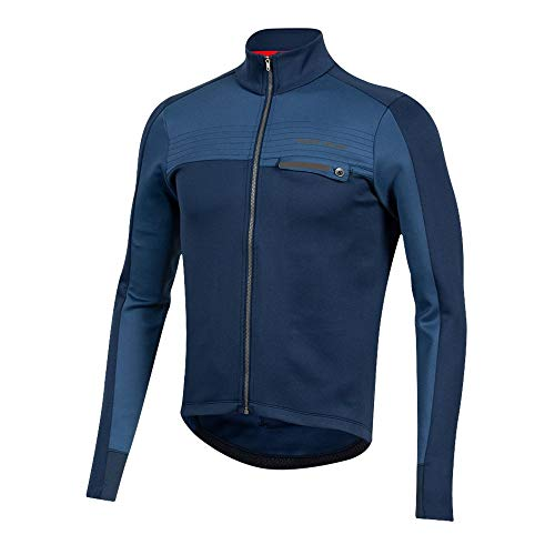 PEARL IZUMI Men's Interval Thermal Cycling Jersey, Navy/Dark Denim, Large