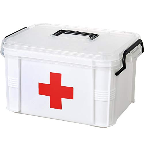 First Aid Container Bin Family Emergency Supplies Storage Organizer with Remobable Tray Clear Lid/Handle (Clear, A Model)