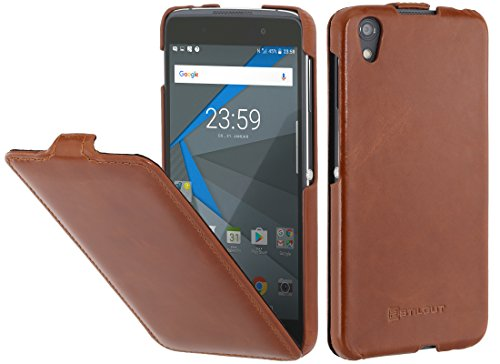 StilGut UltraSlim Case Hülle Leder-Tasche für BlackBerry DTEK 50. Dünnes 360 Grad Flip-Case vertikal klappbar aus Echtleder, Cognac