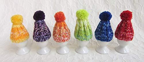 6 er Set Eierwärmer mit Puschel Pompom handgestrickt Pudelmütze viele Farben bunt...