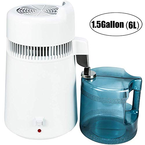 OLizee 900W 110V 6Liter 1.5Gallon Home Countertop Pure Water Distiller Water Purifier with BPA-Free Container and US Plug