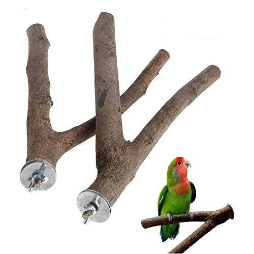 Idlespace 2 Stück Vogel-Zweige aus Naturholz, Gabel für Papageien, Käfigständer, Spielzeug, Haustierzubehör, tragbar, langlebig, Gabel, Ständer, Fütterung, Papageienhalter