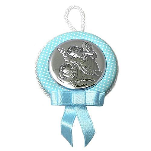 Medalla cuna bebé motivo ángel plata Ley 925m azul lunares [AB9675]