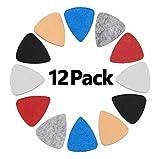 Non-square ukulele Picks, 12 Pack Multi Color Felt Picks for Ukulele, Guitar, Bass.