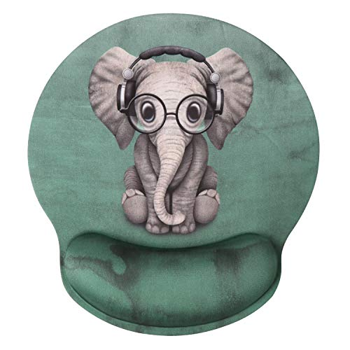 Ergonomic Mouse Pad with Gel Wrist Rest Support, iLeadon Non-Slip Rubber Base Wrist Rest Pad for Home, Office Easy Typing & Pain Relief,Cute Elephant