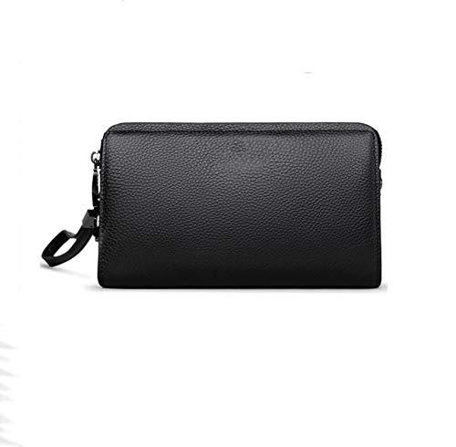 DFSDG Cartera de cuero de los hombres de negocios de viaje embrague bolso grande teléfono móvil contraseña bloqueo