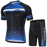 Lixada Maillot Ciclismo Hombre Transpirable Secado Rápido de Manga Corta y Pantalones Cortos Acolchados para MTB Ciclismo de Carretera