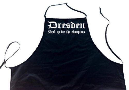 ShirtShop-Saar Dresden - Stand up for The Champions; Städte Schürze (Latzschürze - Grillen, Kochen, Berufsbekleidung, Kochschürze), schwarz