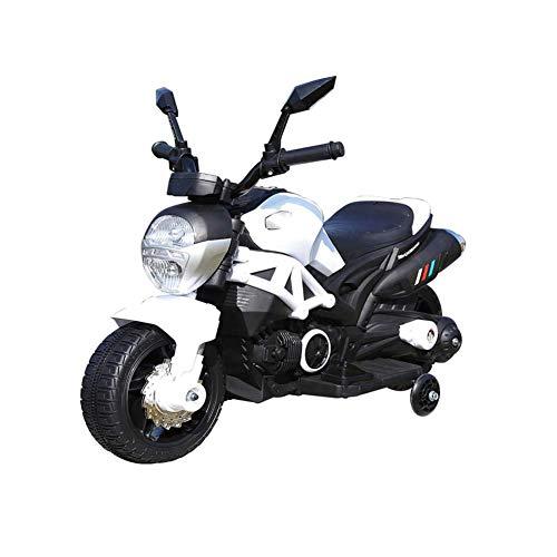 BAKAJI Moto Elettrica Motocicletta Modello Hunter Elettrica per Bambini 6V Bianco con Rotelle Laterali Accelleratore a Pedale con Battistrada in Gomma Antiscivolo Design Realistico con Luci E Suoni