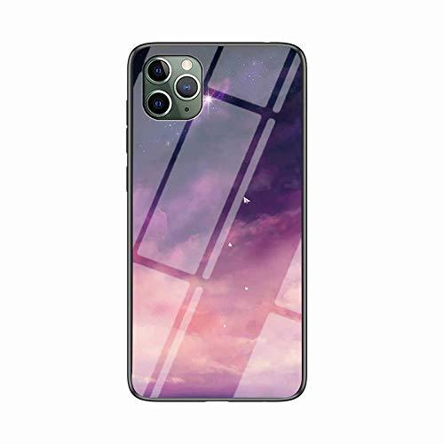 Miagon Glas Handyhülle für iPhone 11 Pro Max,Himmel Serie 9H Panzerglas Rückseite mit Weicher Silikon Rahmen Kratzresistent Bumper Hülle für iPhone 11 Pro Max,Rosa