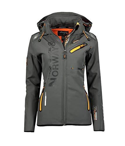 Geographical Norway Damen Softshell Funktions Outdoor Regen Jacke Sport (XXL, Grau/Orange)