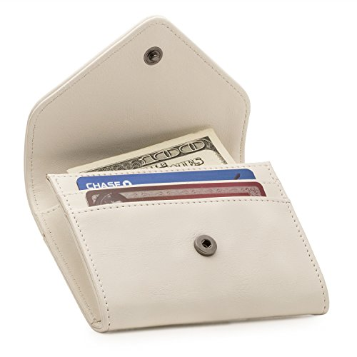 Otto Angelino Leder Geld und Kreditkarten Organizer Geldbörse - RFID Schutz – Unisex (Weiß)