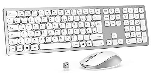 Jelly Comb 2.4G Funktastatur mit Maus Set, Kabellose Ultraslim Fullsize USB Tastatur Maus Kombi Wiederaufladbar für Windows PC, Laptop, QWERTZ Deutsches Layout, Silber und Weiß