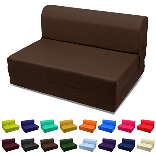 Magshion Futon Furniture Sleeper Chair Folding Foam Bed Choose Color & Sized Single,Twin or Full (Single (5x23x70), Coffee)