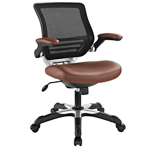 Modway Edge Mesh Back and White Vinyl Seat Office Chair With...