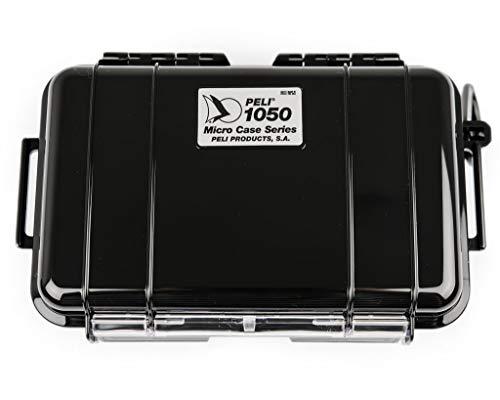 PELI 1050 Micro Case-Schützende Hartschalenbox für Kleine Gegenstände, IP67 Waterdicht1L Volumen, Hergestellt in den USA, Schwarz/Schwarze Gummieinlage