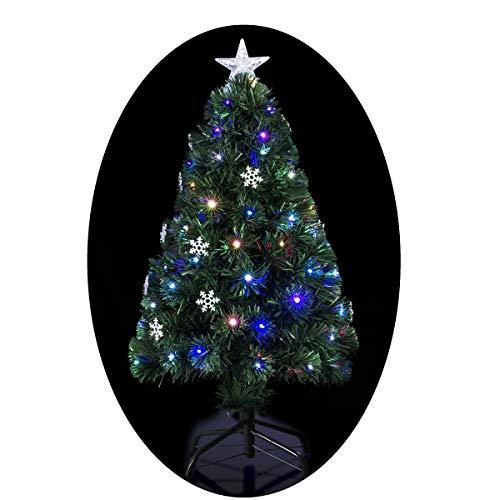 Albero di Natale artificiale luminoso con fibra ottica a luce variabile + 24 fiocchi di neve luminosi + 170 lampadine LED – consegnato col piede – Altezza: 150 cm