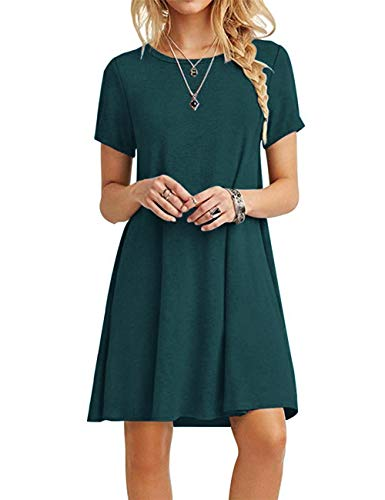 MOLERANI Women Summer Casual T Shirt Dresses Beach Cover up Plain Pleated Dress Dark Green S