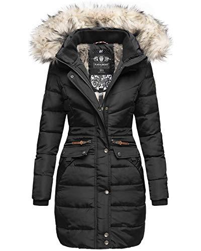 Navahoo Damen Winter Jacke Mantel Parka warm gefütterte Winterjacke B383 [B383-Paula-Schwarz-Gr.XS]