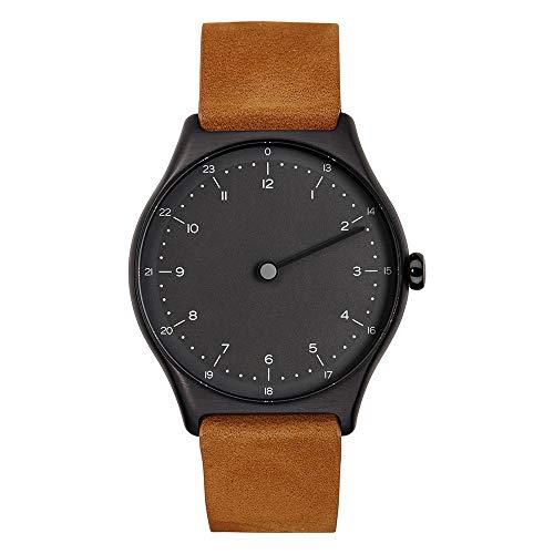 slim made one 1-02 - schlanke Einzeiger-Armbanduhr mit analoger 24 Stundenanzeige Leder schwarz/braun