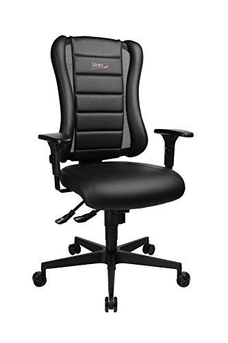 Topstar Sitness RS Büro-/Gaming-/Schreibtisch- Stuhl, inkl. Armlehnen, Stoff, schwarz, 60 x 68 x 120 cm