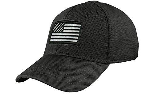 Condor Fitted Tactical Cap Bundle (USA/DTOM Patches) - Black L/XL