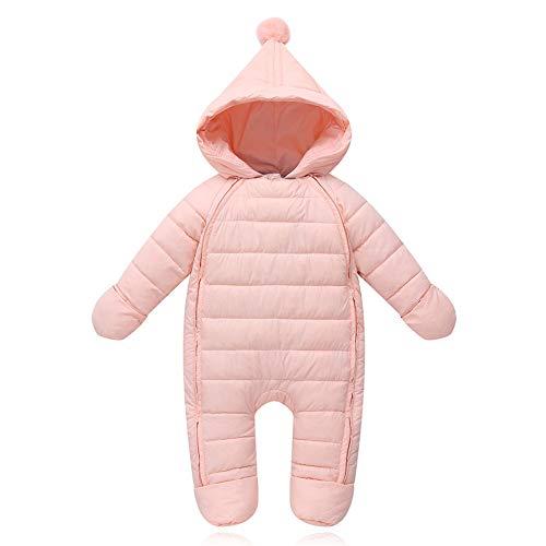 G-Kids Baby Schneeanzüge Winter Overall Strampler mit Kapuze Mädchen Jungen Winterjacke Jumpsuit Rosa 66