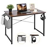 AuAg 39'' Small Computer Desk Home Office Desk, Simple Writing Desk with Storage, Vintage Desk Modern Laptop Desk Sturdy Work Table PC Computer Table, Small Home Desk Workstation- Rustic Brown