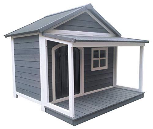 SAUERLAND Hundehütte aus Massivholz | wetterfeste Hundehütten mit Satteldach | isoliertes Hundehaus | Outdoor Hütte mit Vordach, Terrasse & Fenster | B 130 x T 118 x H 108 cm
