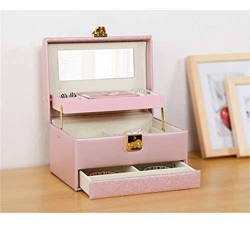 Boîte à Bijoux Sac Cosmétique Multi-Fonction Boîte à Bijoux en Cuir Grande capacité étanche Portable Voyage Maison Portable Rose