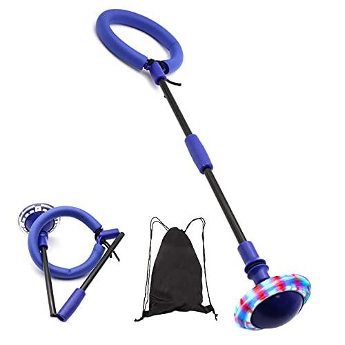 Bola de Salto de Tobillo,Plegable Anillo de Salto para niños y Adultos,Intermitente Colorida LED Saltar Bola para Juegos Divertidos Deportes Aire Libre (Azul)