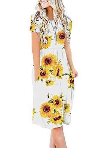 DB MOON Women Summer Casual Short Sleeve Dresses Empire Waist Dress with Pockets (Sunflower White, XL)