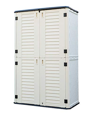 HOMSPARK Vertical Storage Shed Weather Resistance, Double-layer Outdoor Storage Cabinet Multi-purpose for Backyards and Patios Accessories, (50 in. L x 29 in. W x 82 in. H, 52 Cubic Feet, Light Beige)