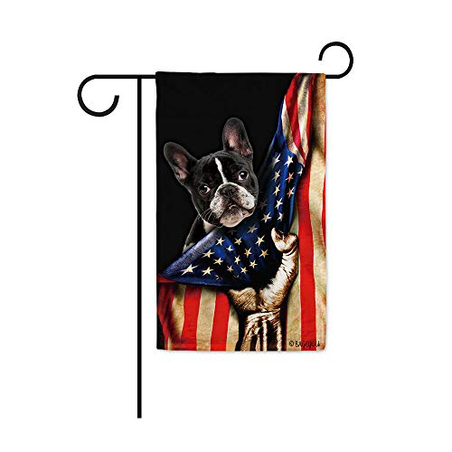 BAGEYOU French Bulldog Puppy Lover American Flag Dog Garden Flag 4th of July Patriotic Outdoor Decor Home Banner 12.5x18 Inch Printed Double Sided