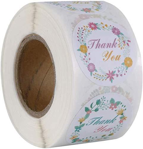 500 pegatinas de agradecimiento hechas a mano, con flores, etiquetas adhesivas redondas con flor, para regalos, tarjetas, bodas, bricolaje sobre sellado de caramelos y galletas (8 diseños)